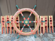 A ship's wheel we've had stored for about 5 years.