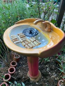 Bee Fountain with wine cork rafts